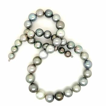Tahiti Perlkette multi grau 8,2-11,9