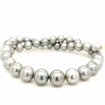 Tahiti Perlenkette platinfarben/hellgrau 11-12