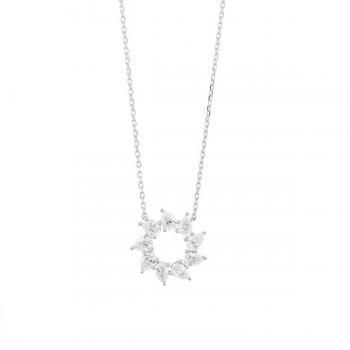Diamant Collier Tropfenblüten 0,43ct Weißgold