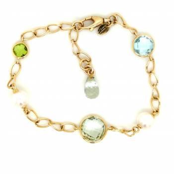 Farbstein Armband mit Perlen Gelbgold