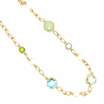 Farbstein Collier mit Perlen Gelbgold