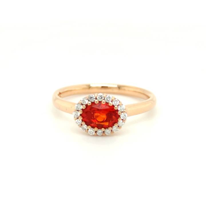 Feueropal Ring 0,55ct Roségold