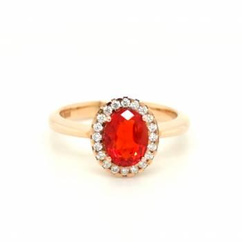Feueropal Ring 0,95ct Roségold
