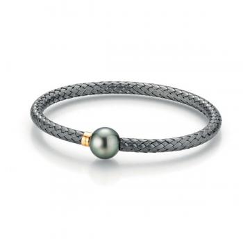 Gellner Armreif Silber schwarz rhodiniert mit Tahitiperle 2-81496-02