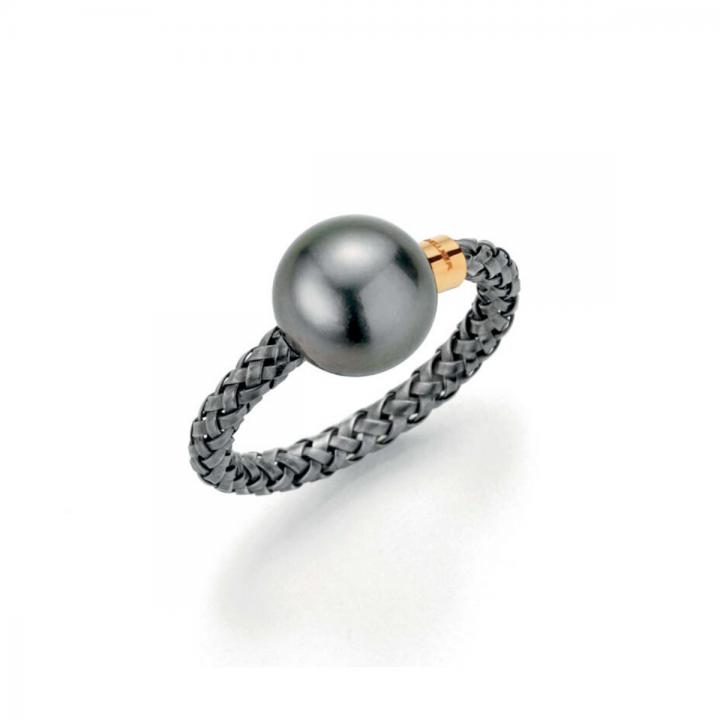 Gellner Ring Silber schwarz rhodiniert mit Tahitiperle 2-81471-01
