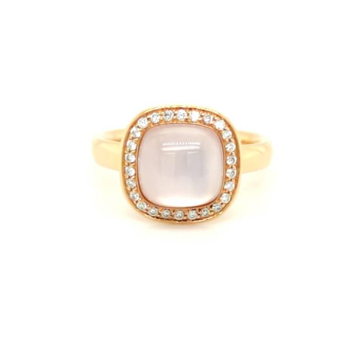Rosenquarz Ring mit Brillanten Roségold
