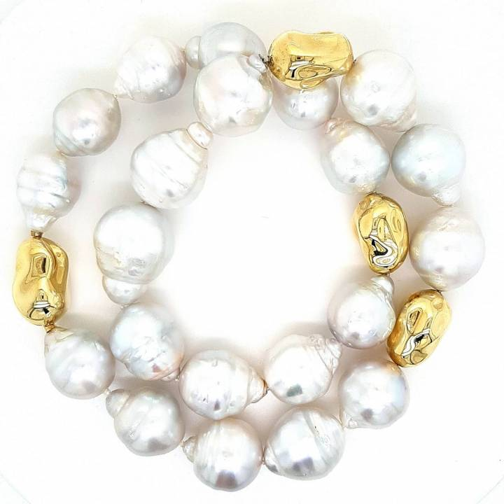 Südsee Perlenkette barock Gelbgold