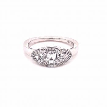 Diamant Ring 0,91ct mit Emerald Weißgold