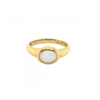 Milchopal Ring oval Gelbgold