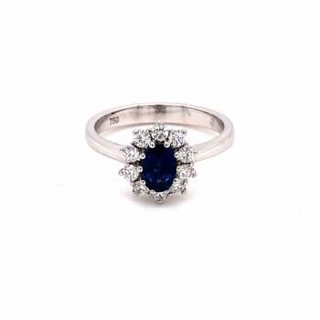 Saphir Ring mit Brillanten 0,81ct Weißgold