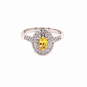 Saphir gelb Ring mit Brillanten 0,63ct Weißgold