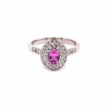 Saphir pink Ring mit Brillanten 0,59ct Weißgold