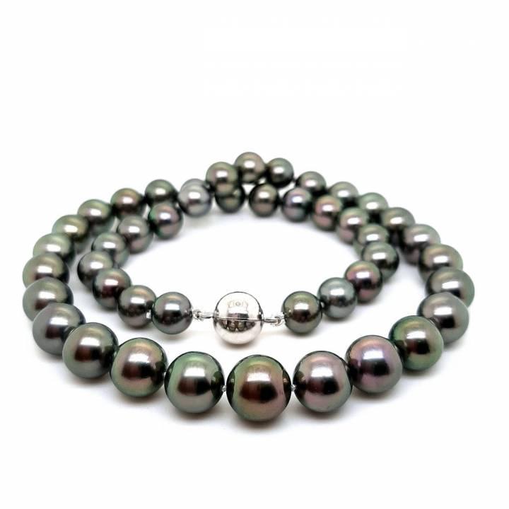 Tahiti Perlkette dunkel 8,2-10,5