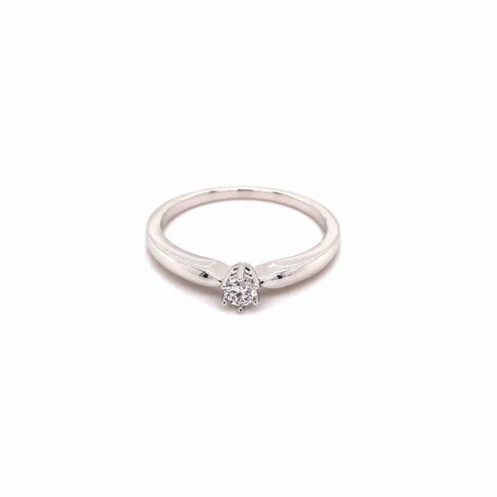 Brillant Ring 6-Krappe 0,10ct Weißgold