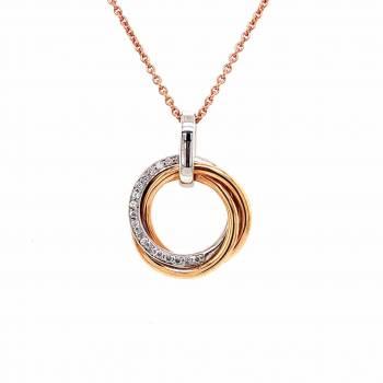 Collier Kreis mit Brillanten 0,10ct Rosé-Weißgold