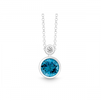 Collier Silber mit Brillant und London Blue Topas