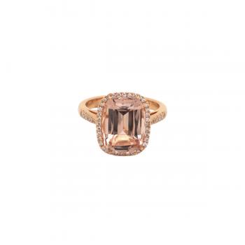 Morganit Ring mit Brillanten Roségold