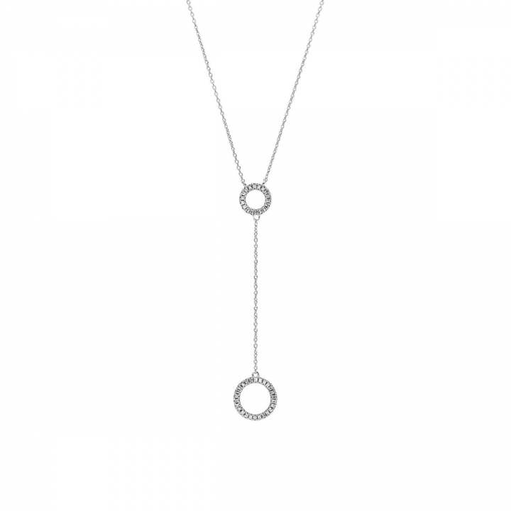 Y-Diamant Collier Kreis 0,08ct Weißgold