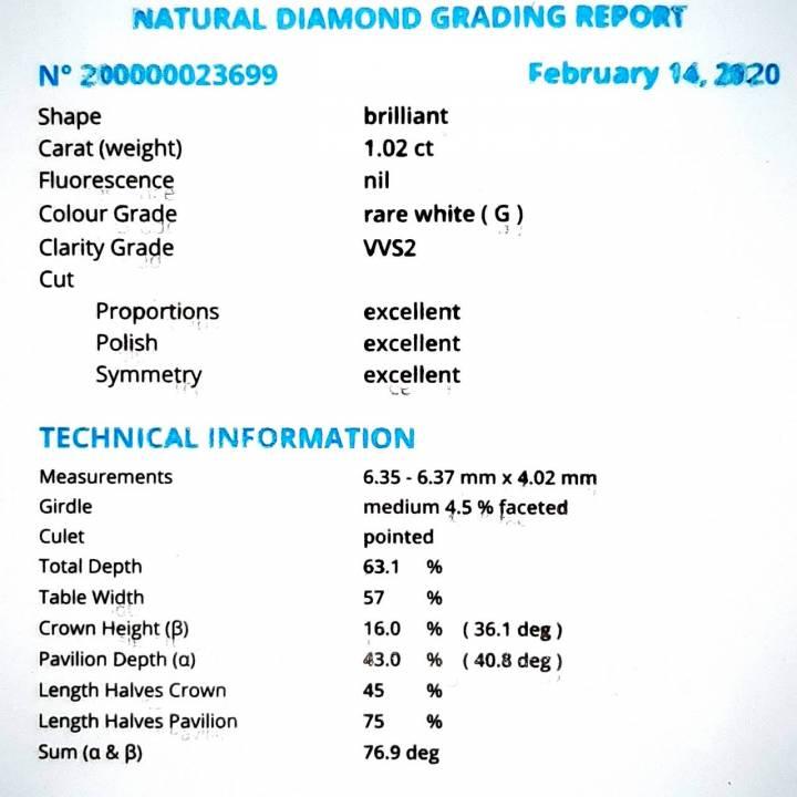 1,02ct Brillant Anlagediamant Zertifikat