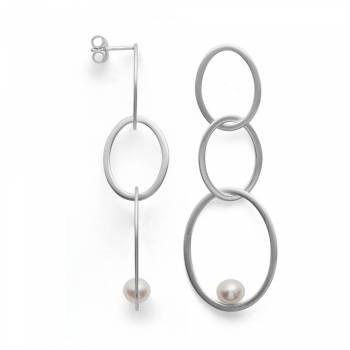 Bastian Ohrstecker lang mit Perlen Silber 38071
