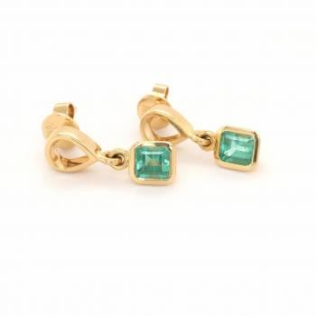 Smaragd Ohrhänger 1,43ct Gelbgold Seite