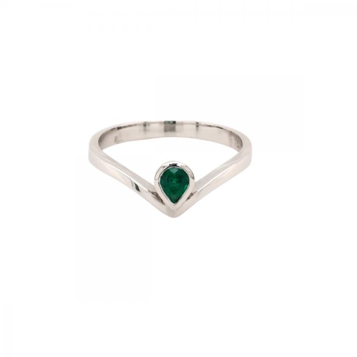 Smaragd Ring 0,24ct Weißgold