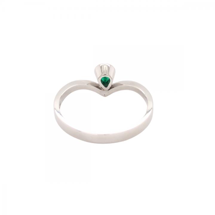 Smaragd Ring 0,24ct Weißgold hinten