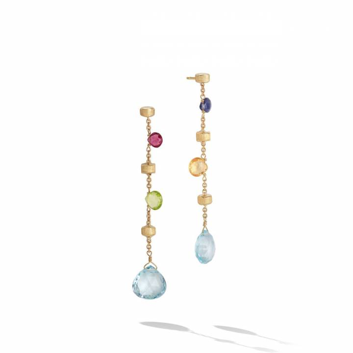 MARCO BICEGO Ohrstecker lang Paradise 18kt Gelbgold mit multicolor Edelsteinen (OB1431 MIX01)