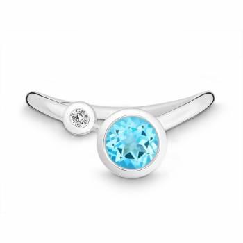 Silber Ring mit Skyblue Topas und Brillant