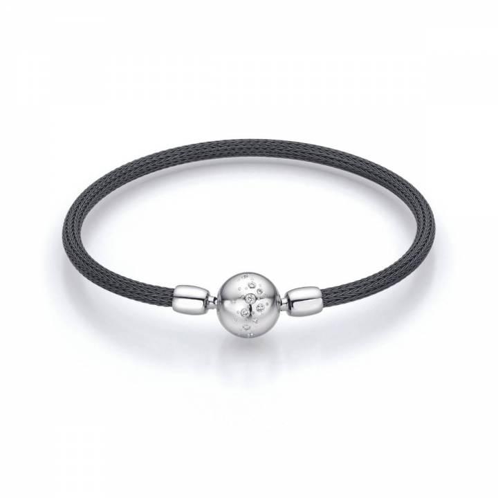 Armband für Perlschließen mit Zug Edelstahl schwarz