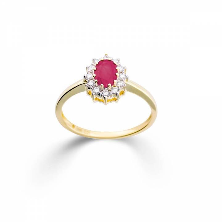 Rubin Ring mit Brillanten Gelbgold