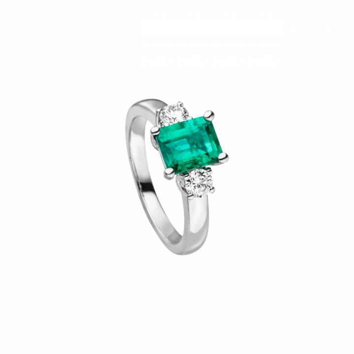 Smaragd Ring mit Brillanten Weißgold