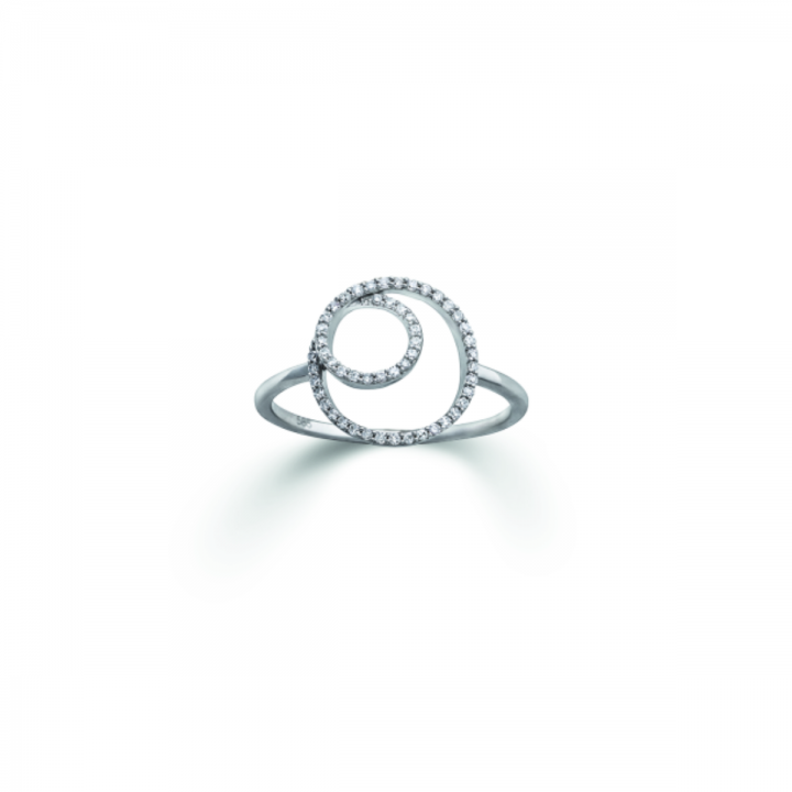 Ring Doppelkreis mit Diamanten in Weißgold