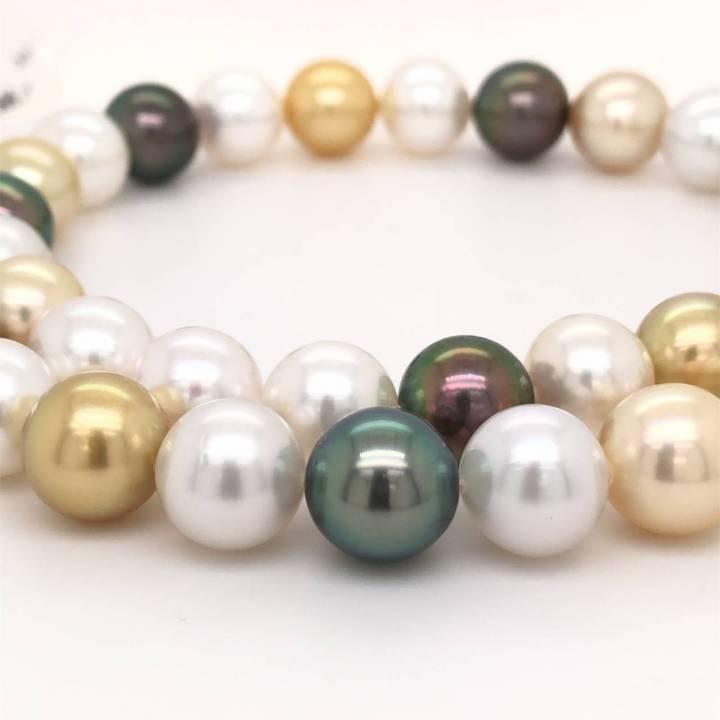 Südsee/Tahiti Perlenkette multicolor 10-10,9