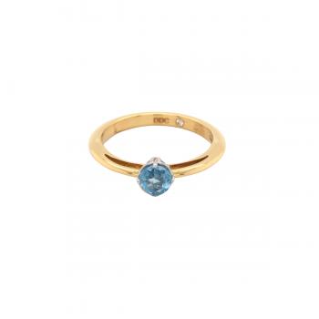 Aquamarin Ring 0,36ct mit Brillanten Gelbgold