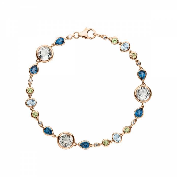 Armband mit multicolor Edelsteinen und Brillant Roségold