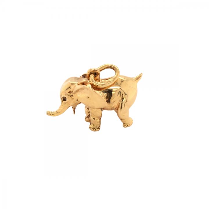Elefant Anhänger massiv Gelbgold 1