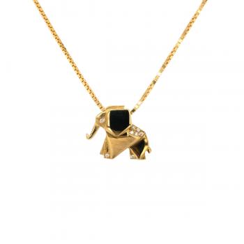 Elefanten Anhänger geometrisch mit Brillanten Gelbgold