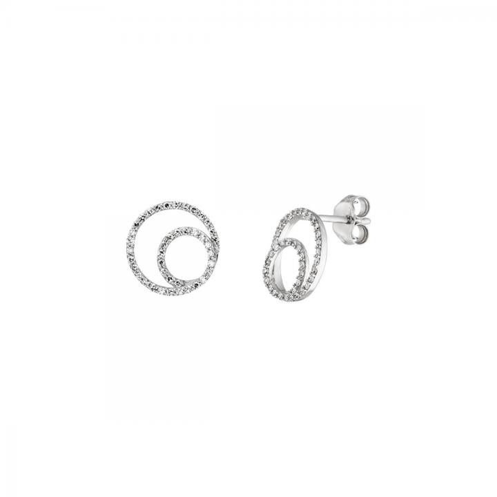 Ohrstecker Doppelkreis mit Diamanten Weißgold