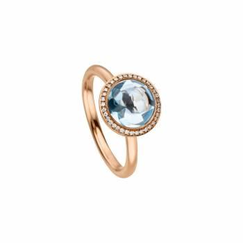 Ring Blautopas und Brillanten Roségold