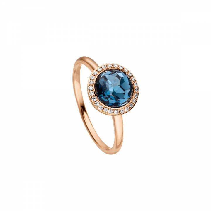 Ring London Blue Topas und Brillanten Roségold