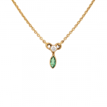 Smaragd Collier mit Brillant Gelbgold