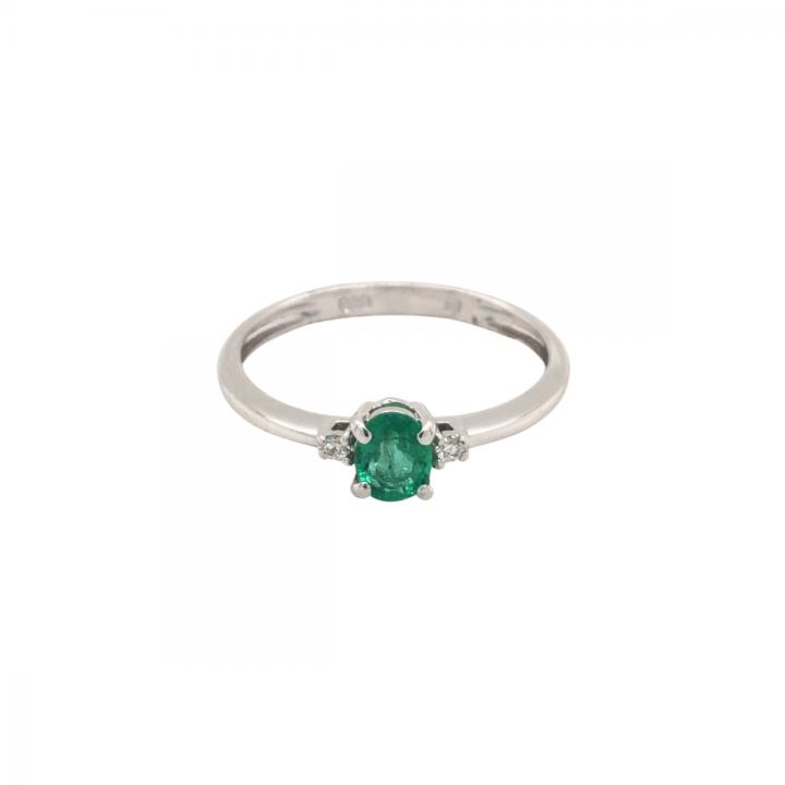 Smaragd Ring mit Brillant Weißgold
